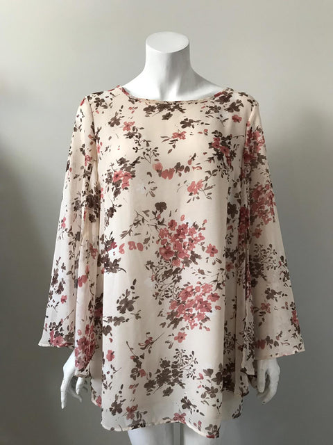 Fred David Multi-Color Floral Blouse Size L