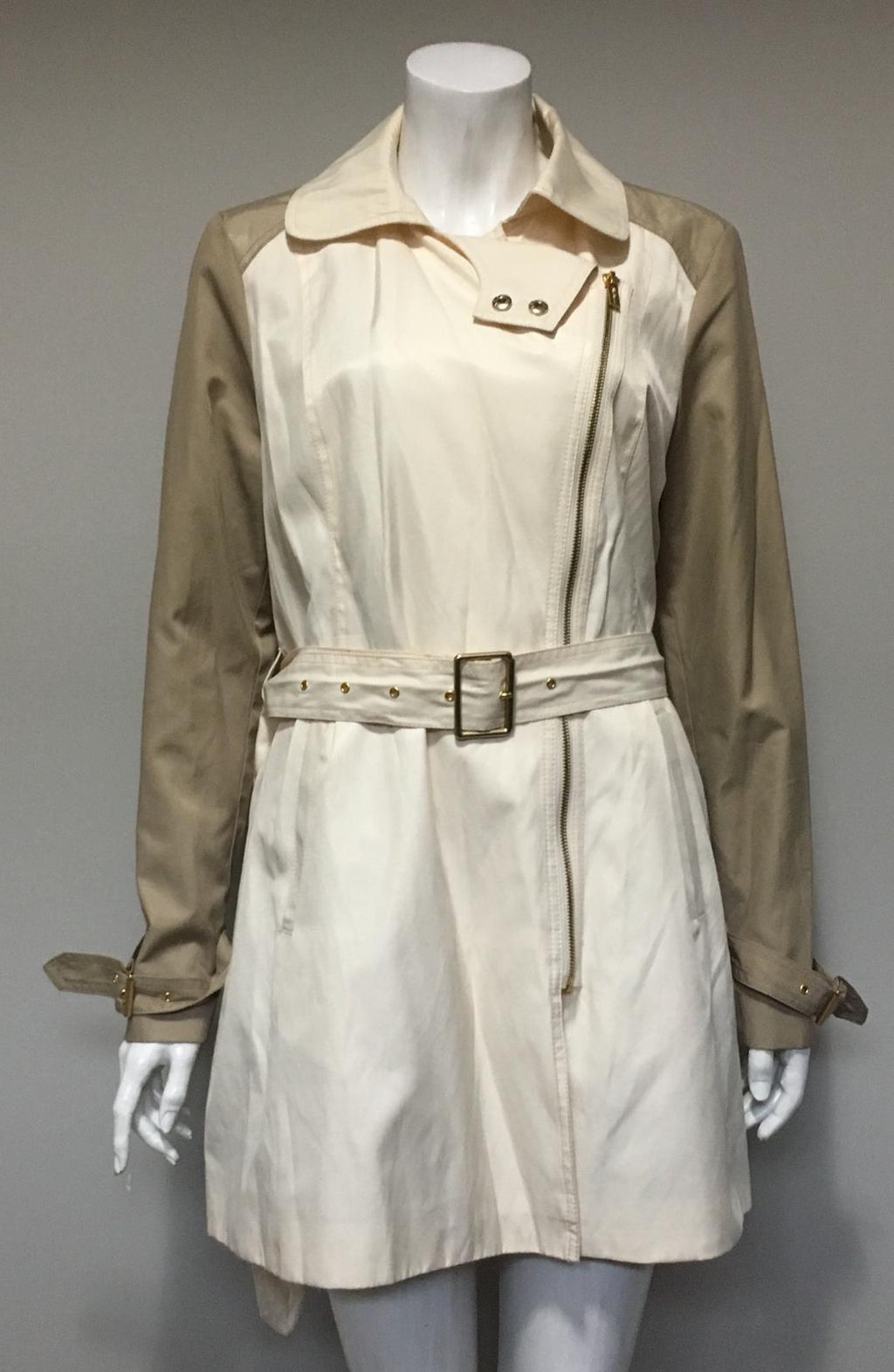 Kenneth Cole Cream & Tan Belted Jacket Size L