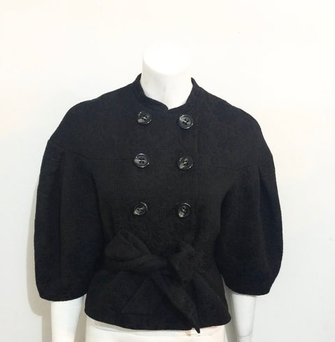 BCBG Max Azria Black Crop Baroque Belted Jacket Size S