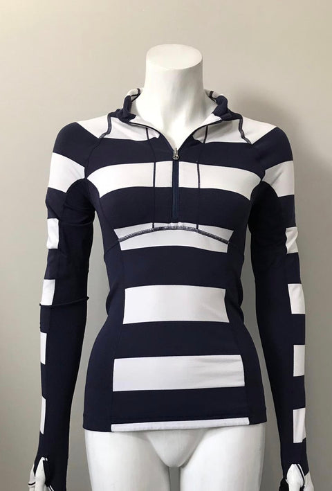 Lululemon Blue & White Stripe Running Sweater Size 4