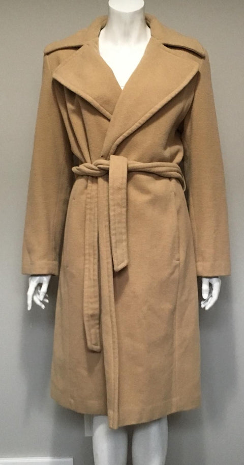 Jones New York Camel Wool Belted Coat Size XL