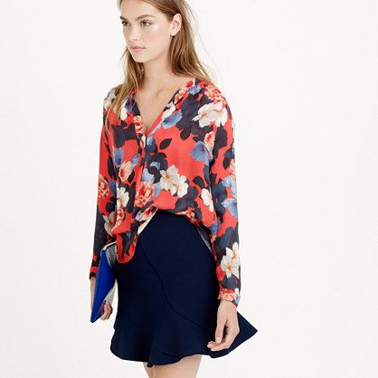 J.Crew Multi-Color Floral Silk Blouse Size 8