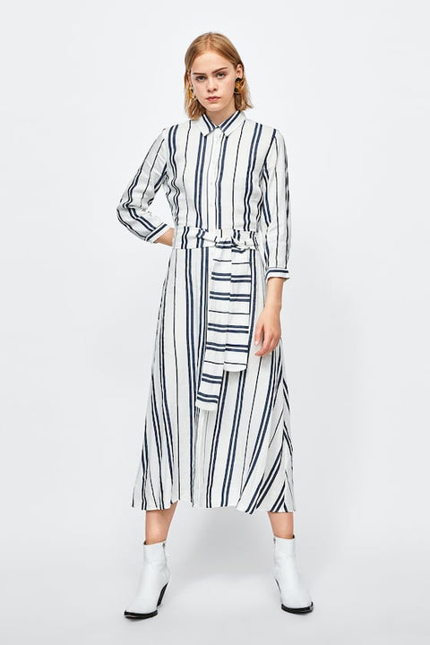 Zara Grey & White Stripe Linen Dress Size S