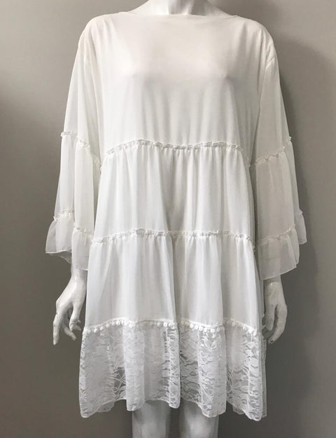 Vintage Oversized White Boho Shift Dress Size L/XL