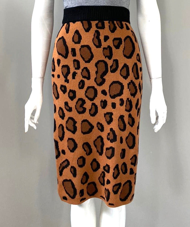 English Factory Leopard Print Pencil Skirt Size M