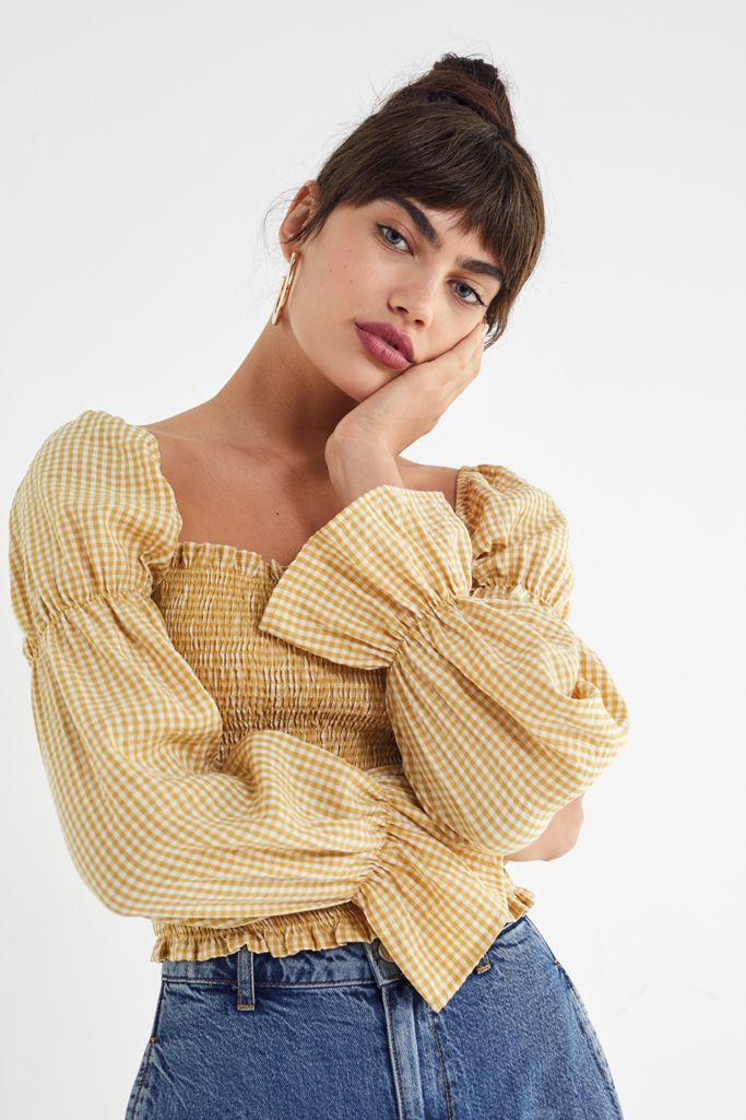 Urban Outfitter Yellow Gingham Blouse Size S