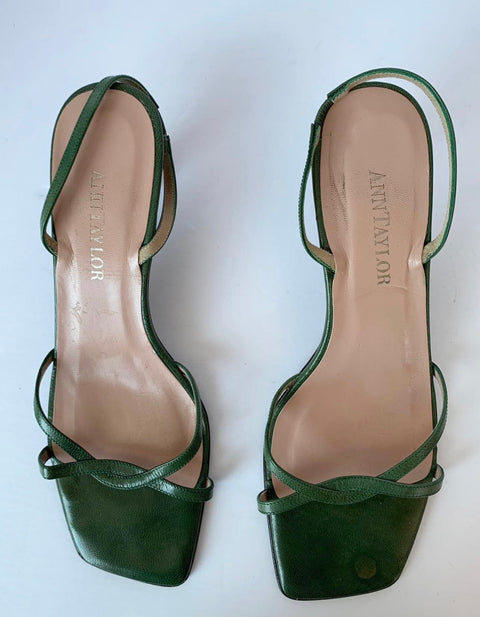 Vintage Ann Taylor Green Square Toe Sandals Size 9.5