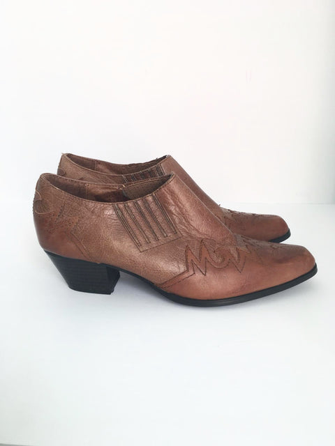 Oak Tree Brown Leather Ankle Cowboy Booties Size 8.5