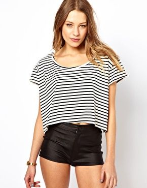 American Apparel Navy & White Stripe Crop Tee Size O/S