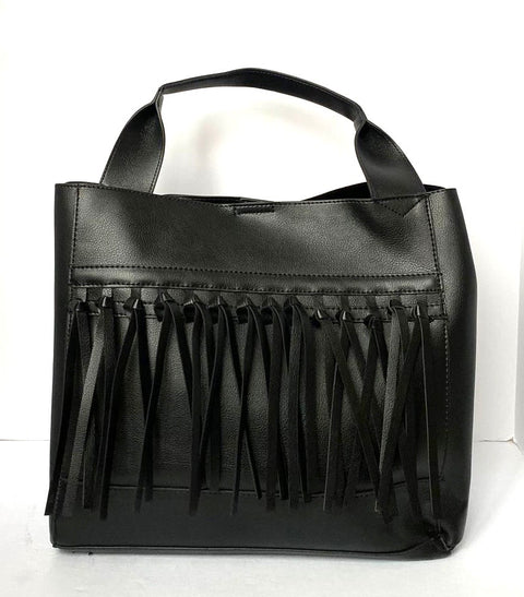 Mango Black Vegan Leather Fringe Tote
