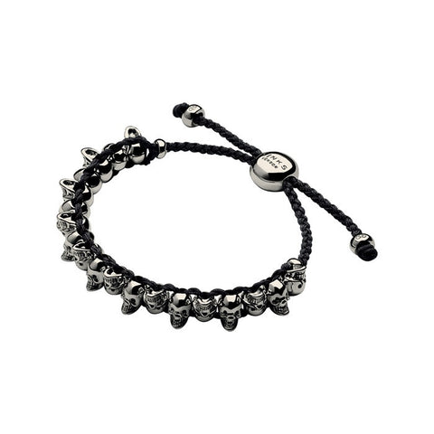 Brand New Links Of London Skull Black & Ruthenium Friendship Bracelet - Joyce's Closet  - 1