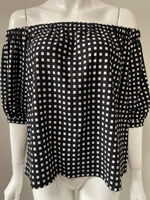 IMNYC B/W Off Shoulder Gingham Blouse Size S