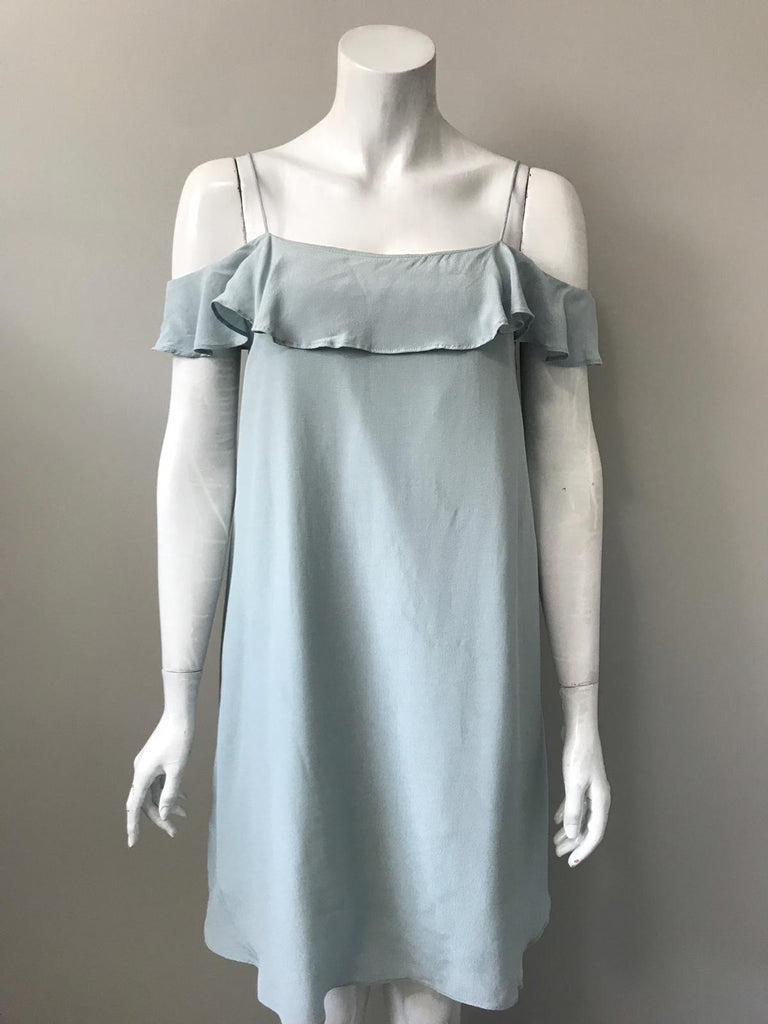 Mustard Seed Light Blue Cold Shoulder Ruffle Dress Size S