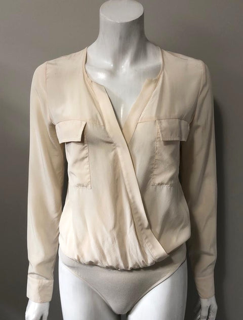 Guess by Marciano Nude Silk Bodysuit Size XS