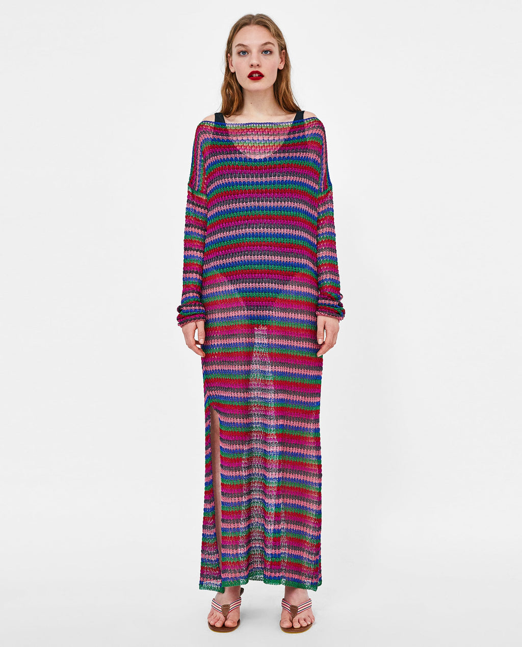 Zara Knit Multi-Color Maxi Cover-Up Dress Size S