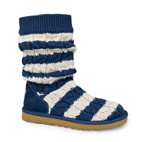Ugg Navy & Cream Cable Knit Boots Size 8