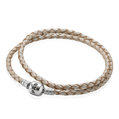 Pandora Cream Woven Double Leather Monkey Charm Bracelet - Joyce's Closet  - 1