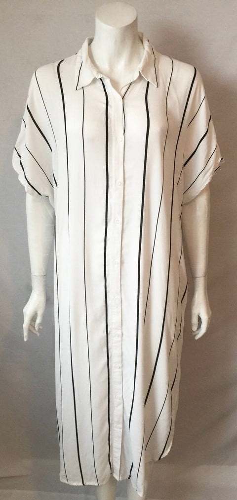 Lumiere Black & White Stripe Tunic Shirt Dress Size L