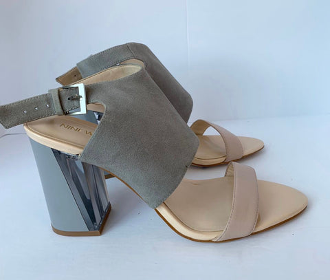 Nine West Moshpit Grey & Nude Platform Heel Sandals Size 10