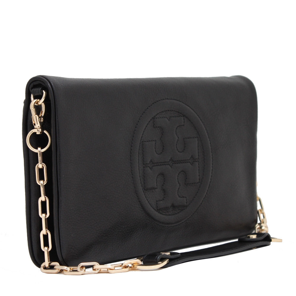 "Tory Burch "" Bombe Reva"" Black Leather Clutch - Joyce's Closet  - 1"