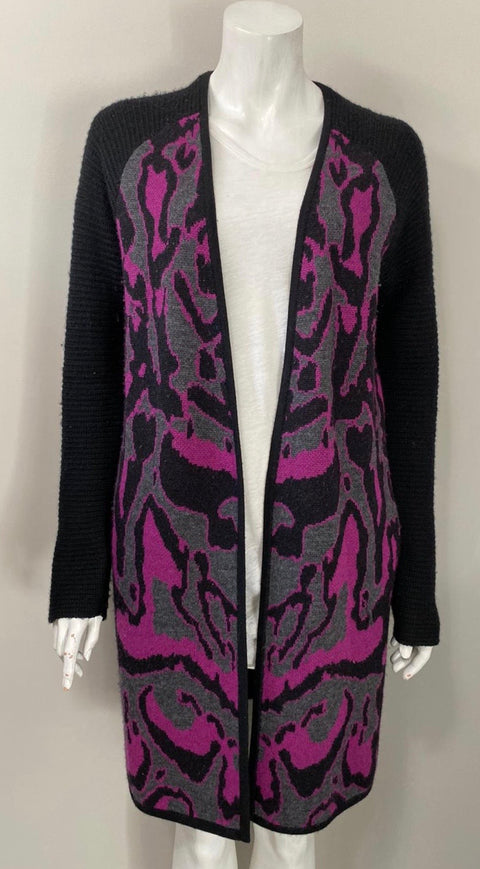 Diane Von Furstenberg Purple Print Long Cardigan Sweater Size S