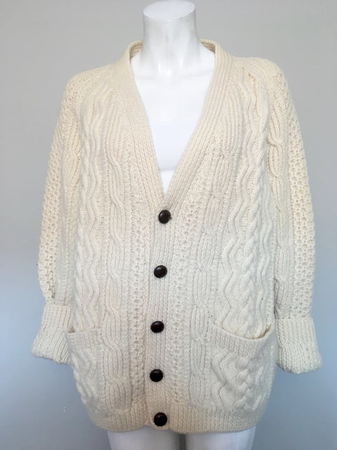 Vintage An Irish Tradional Cream Pure Wool Sweater Size L/XL