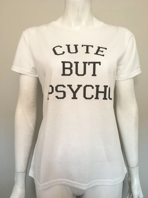 Cute But Psycho White Basic Graphic Tee Size M/L