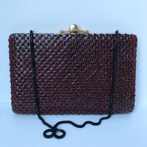 Vintage Maroon Metal Detail Clutch
