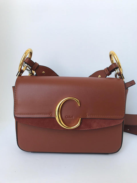 "Chloe Small ""C"" Sepia Brown Double Carry Handbag"