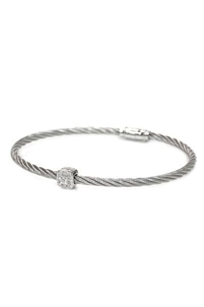 Charriol 18k  Stainless Steel Nautical Cable Diamond Station Bracelet.