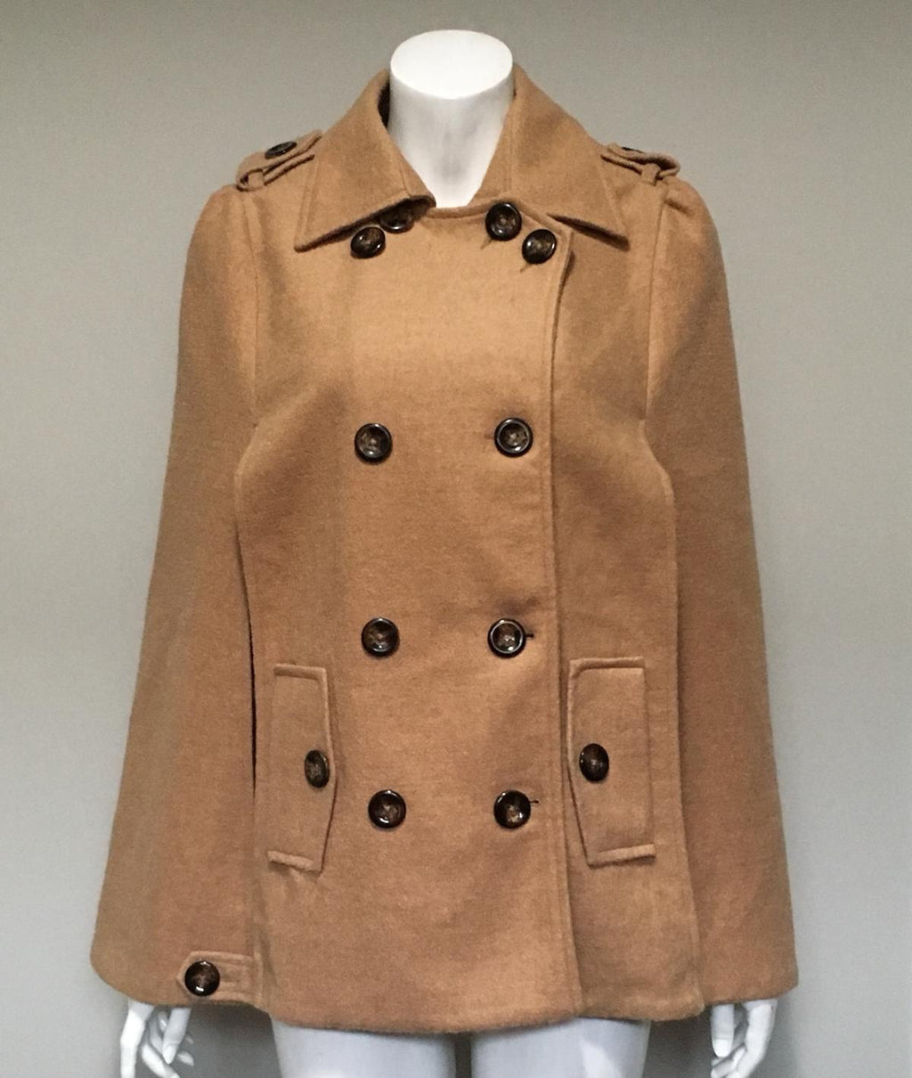 Pink Lady Tan Wool Cape Coat Size L
