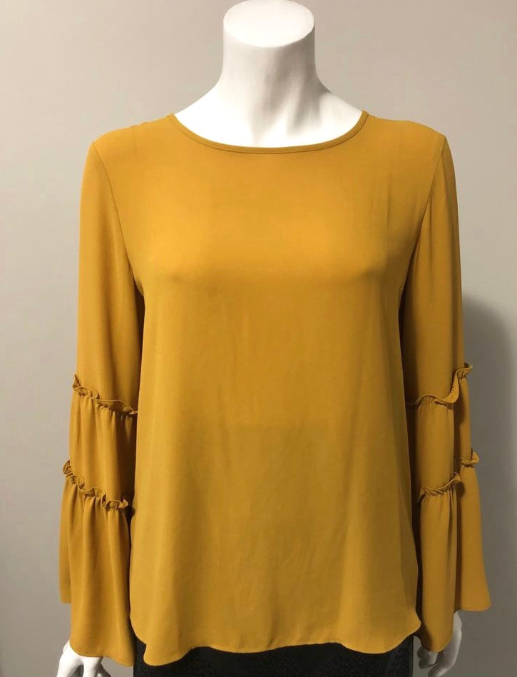 Anne Taylor Mustard Bell Sleeve Blouse Size S