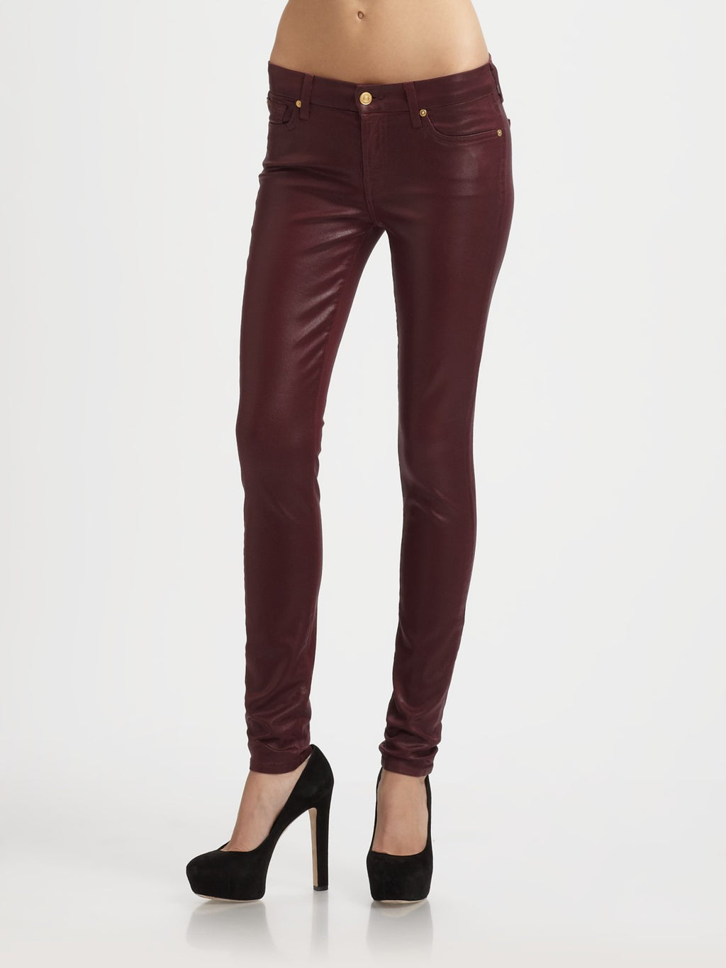 Seven For All Mankind Women's High Waist Skinny Jeans In Merlot Metallic Twill - Joyce's Closet  - 1
