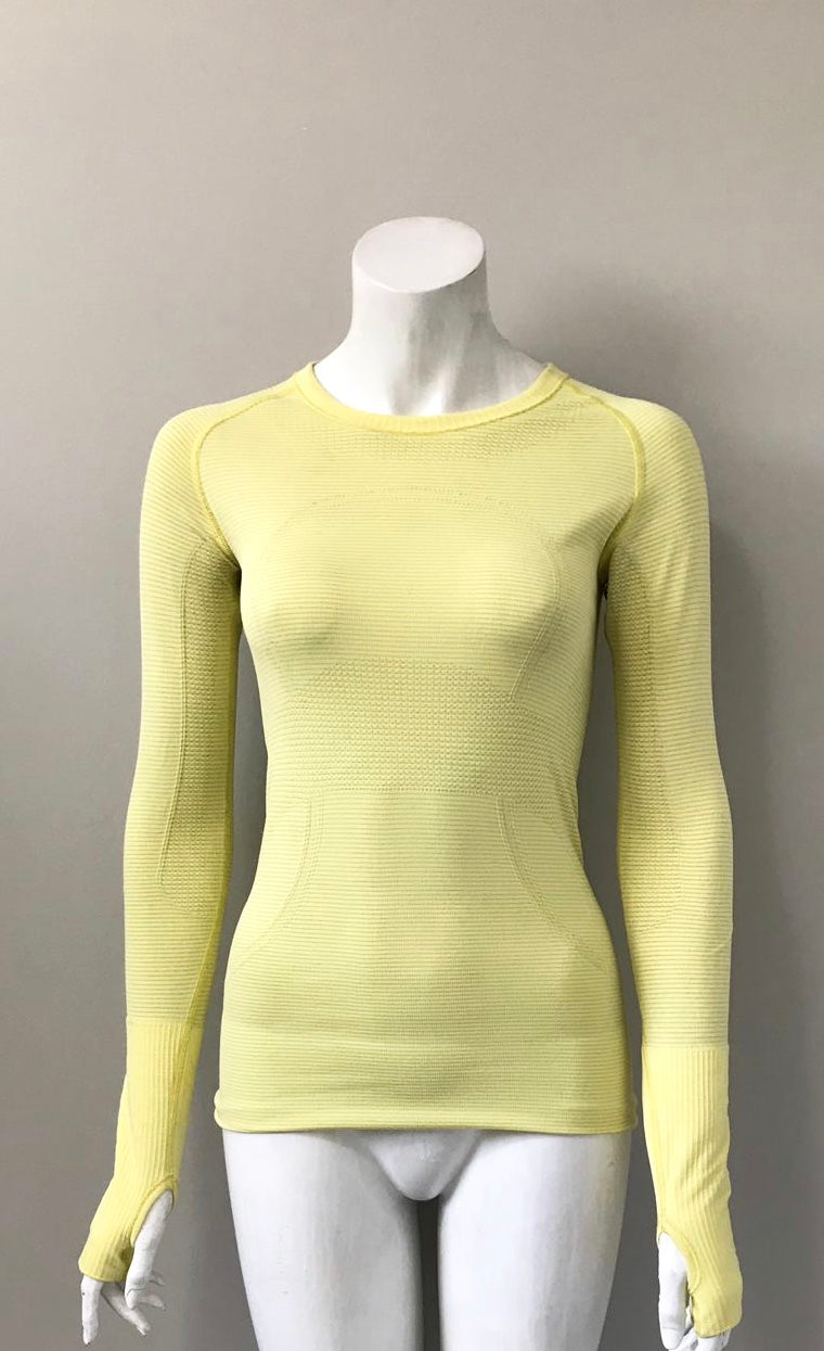 Lululemon Long Sleeve Yellow Swiftly Tech Crew Neck Shirt Size 4
