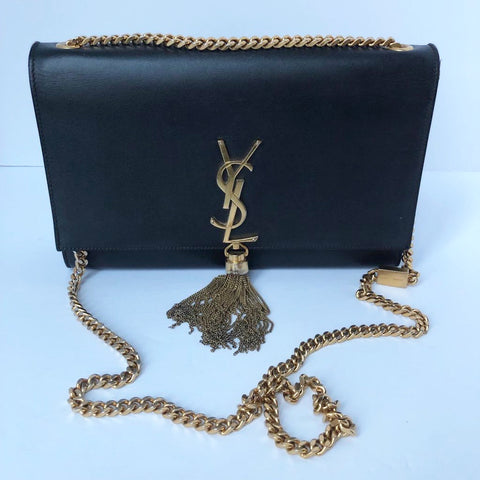 YSL Black Medium Kate Tassle Chain Bag