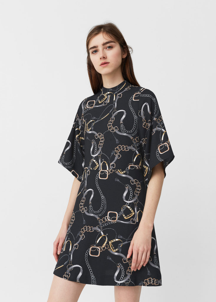 Mango Black Chain Print Dress Size 4