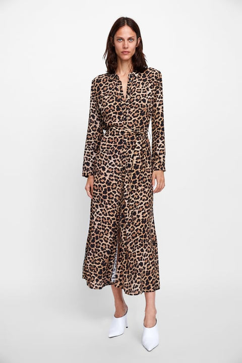 Brand New Zara Leopard Print Button Up Dress Size S