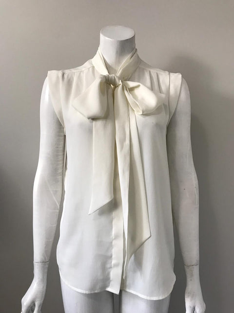 French Connection Sleeveless Necktie Cream Blouse Size 6