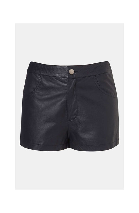 Top Shop Black Faux Leather Shorts Size 12