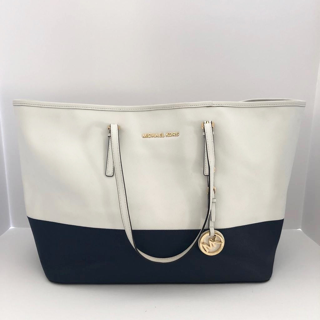 Michael Kors Two Tone Navy & White  Suffiano Tote