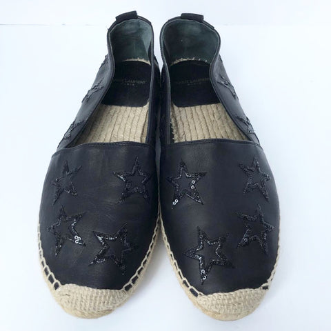 Saint Laurent Black Leather Star Espadrilles Size 39
