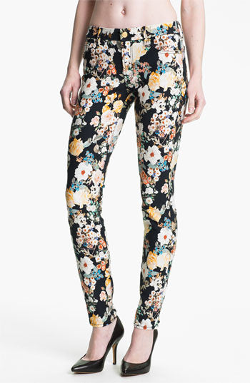 7 For All Mankind Midnight Floral Skinny Jeans - Joyce's Closet  - 1