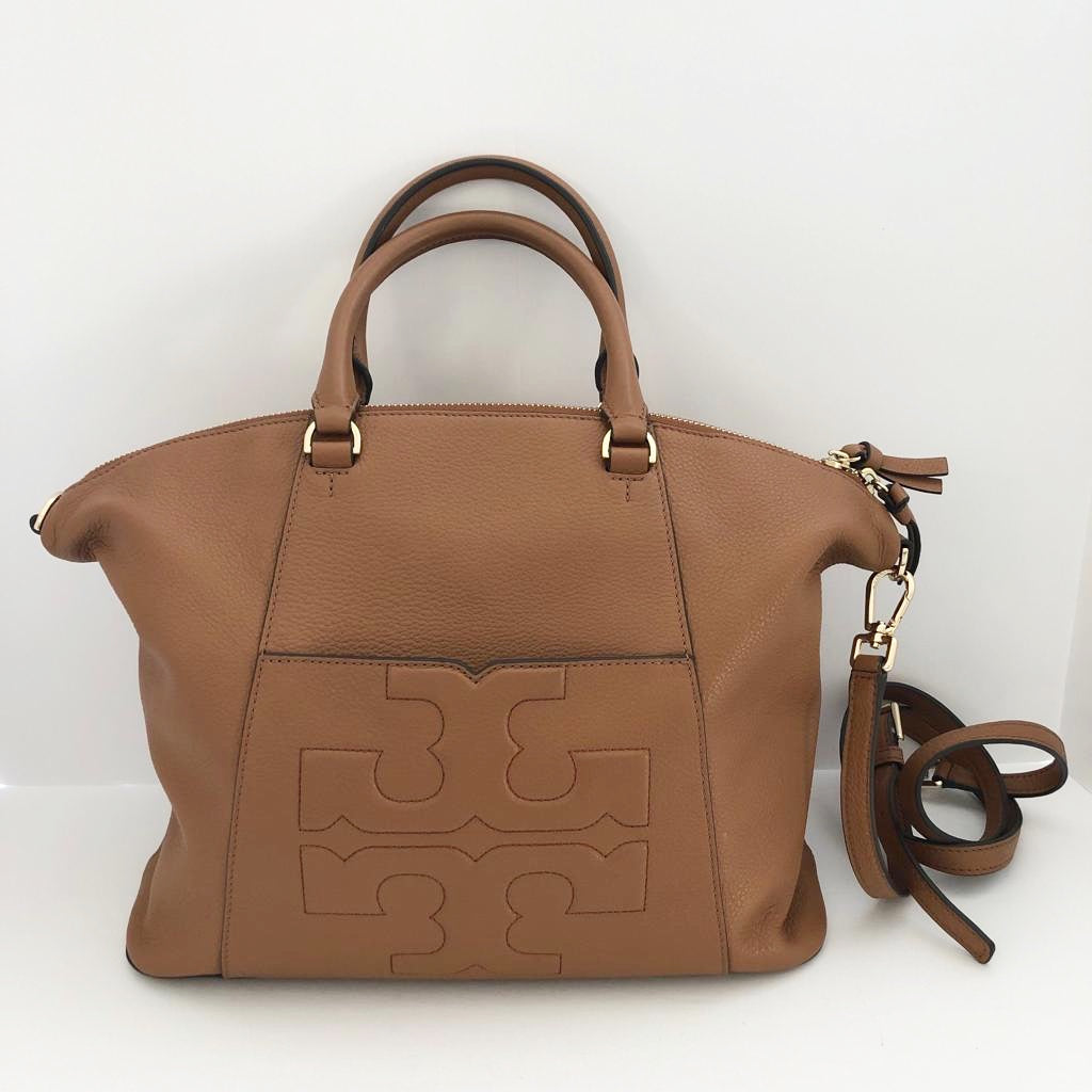 Tory Burch Bombe T Caramel Leather Satchel