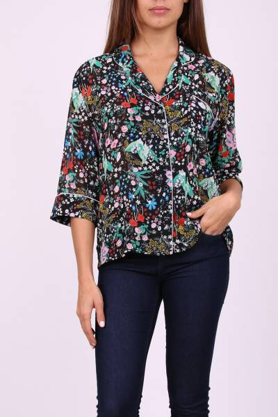 Lily Mcbee Multi-Color Floral Button Up Blouse Size M