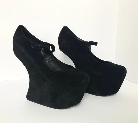 Jeffery Campbell Black Night Walker Heel-less Mary-Jane Platforms Shoes Size 9M