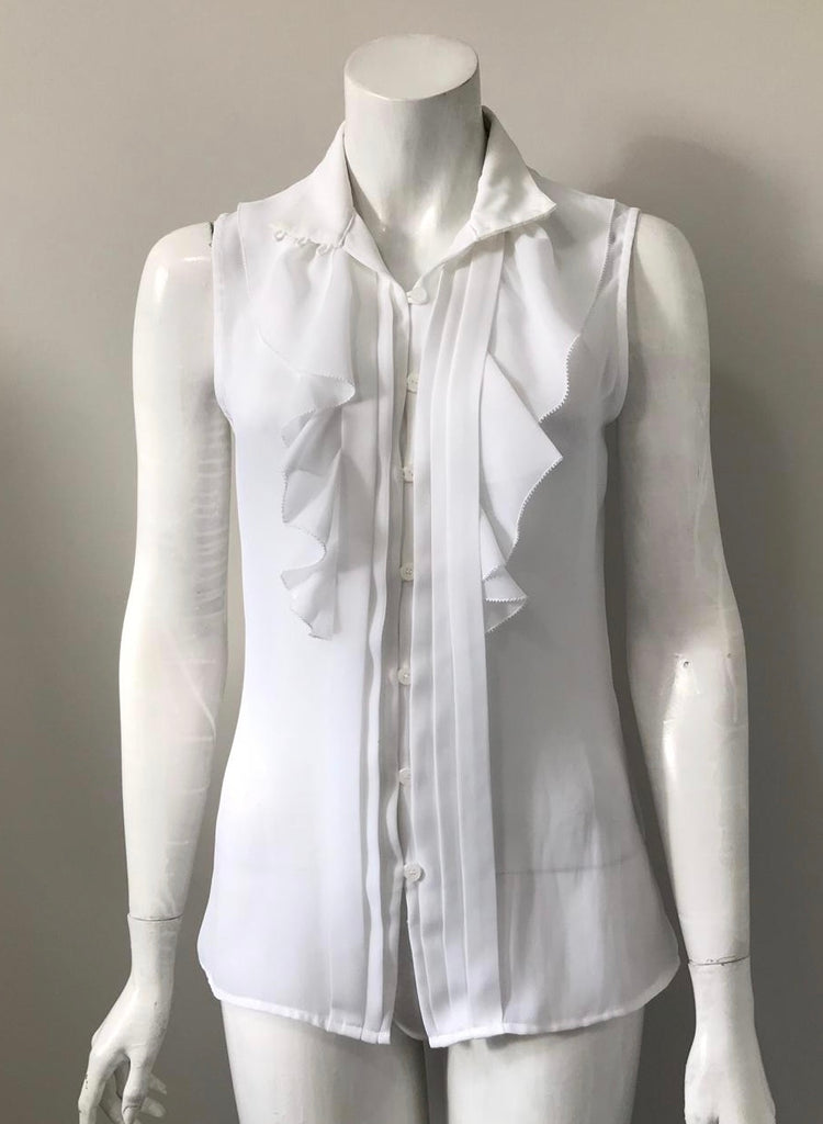 Guess by Marciano White Ruffle Blouse Size S