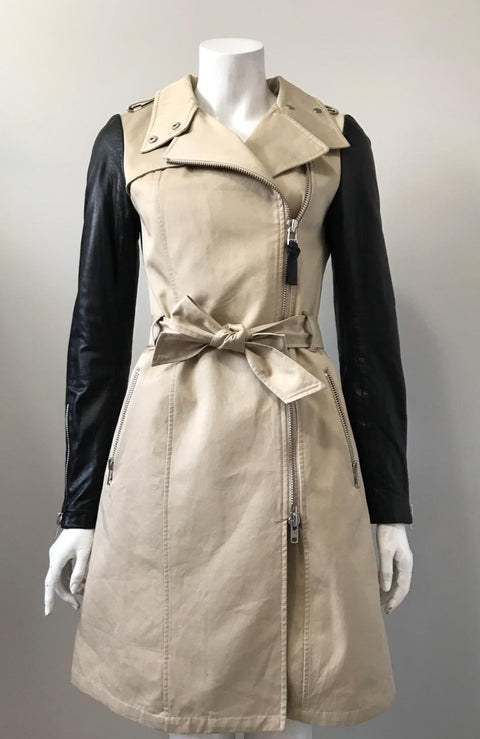 Mackage Tan Leather Sleeve Trench Coat Size XS
