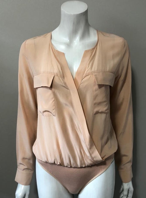 Guess by Marciano Blush Silk Bodysuit Size XS