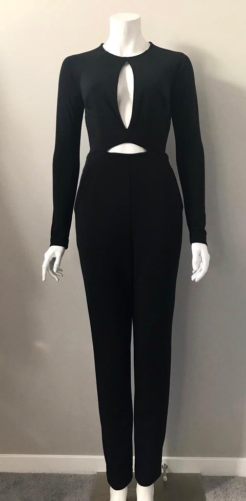 Nasty Gal Black Long Sleeve Cut-Out Jumpsuit Size XS