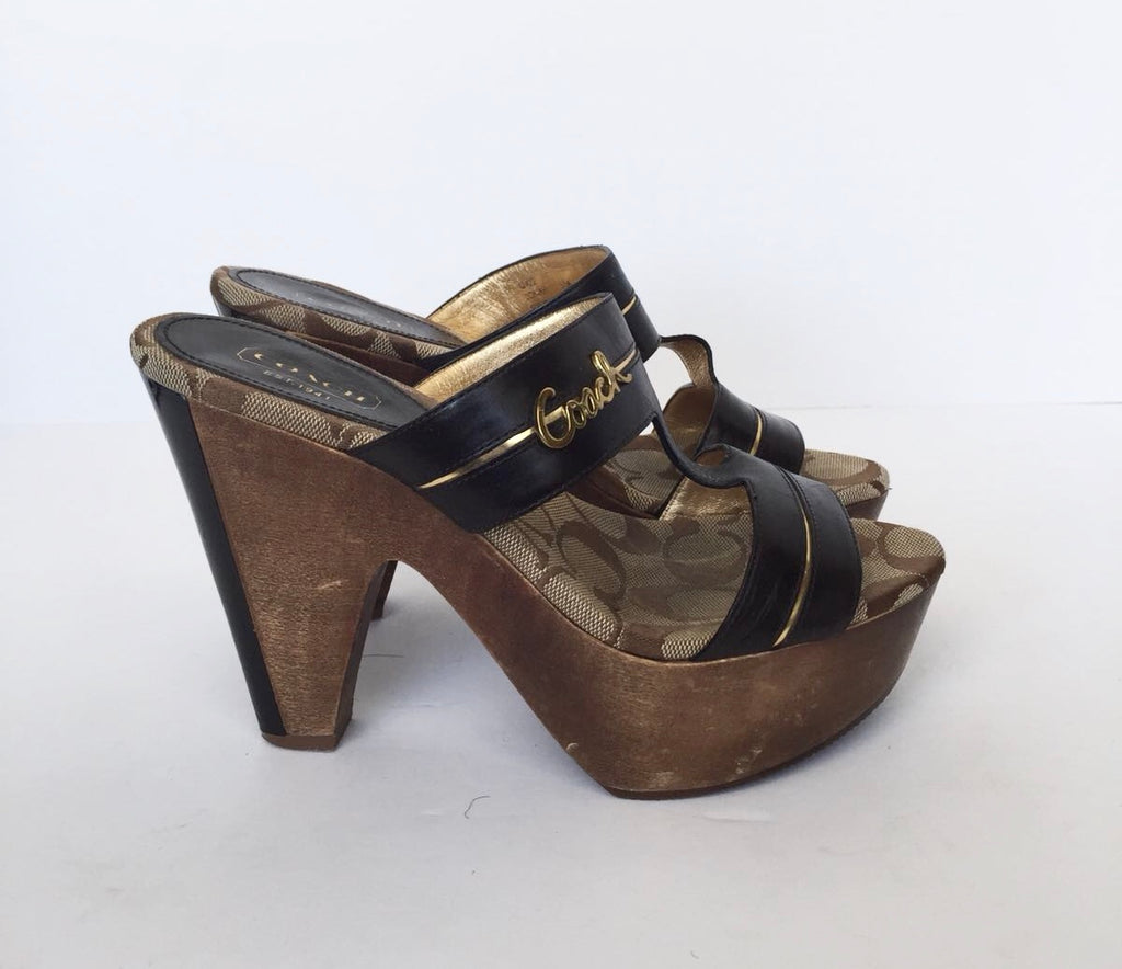 "Coach ""Jonah"" Monogram Wooden Heel Sandals Size 5.5"